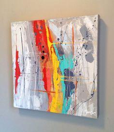 "Voici ce que je viens d'ajouter dans ma boutique #etsy : Ikouart, Abstract painting, abstract art, peinture abstraite colorée, Canvas, wall art, square, house wearing, gift, original art, 16""x16"" #abstractart"