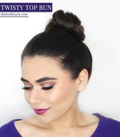 Switch things up with this twisted topknot hair tutorial. See the post for the step-by-step photos! | Slashed Beauty #GoodyStyle #ad