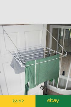 buy now Folding metallic Utility Indoor Clothes Dryer Laundry Washing Airer Strong Wire Construction 7 Metre Drying Space White Colour Ideal Indoor Laundry Drier, Can Be Used On Caravan, . Clothes Drying Racks, Clothes Dryer, Clothes Hanger, Laundry Hanger, Laundry Dryer, Diy Washing Lines, Over Door Towel Rail, Space Saving Furniture, Laundry In Bathroom