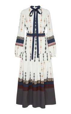 Flower-Embellished Printed Organza Tiered Dress With Blouson Sleeves by Costarellos Green Midi Dress, White Maxi Dresses, Cotton Dresses, Floral Dresses, Edgy Outfits, Fashion Outfits, Fasion, Wrap Front Dress, Embellished Gown