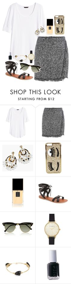 """Friday's in Fringe"" by classycathleen ❤ liked on Polyvore featuring H&M, J.Crew, Chiara Ferragni, Chanel, Topshop, Ray-Ban, Olivia Burton, Bourbon and Boweties and Essie"