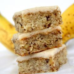 "Monkey Squares - Use up your bananas! Previous pinner said ""I cooked in a 13x9 pan for 30 minutes. These are moist and the brown butter frosting rocks!"""