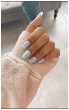 Acrylic Nails Coffin Short, Blue Acrylic Nails, Simple Acrylic Nails, Pink Coffin, Metallic Nails, Acrylic Nails Designs Short, Simple Nails, Glitter Nails, Acrylic French Manicure