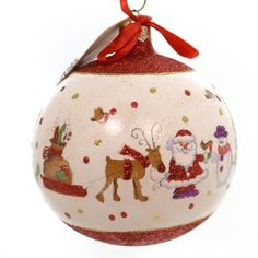Christina's World CIRCLE OF SANTAS Glass Ornament Santa Ball Gif545
