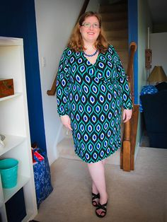 Outfit of the Day: Eye Dress (Spring Version)  Dress: Jones New York. Necklace: Torrid. Shoes: Skechers. via @Gwynnie Bee
