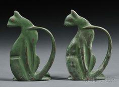 Pair of Art Deco Cat Bookends