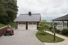 This garage was built for Doug of West Liberty OH Special Features: Morton's Hi-Rib Steel Cupola Wainscot Windows w/ Shutters . Cool Garages, Metal Garages, Shop Buildings, Steel Buildings, Garage Plans, Shed Plans, Garage Ideas, Morton Building, Building A House