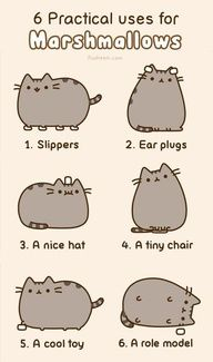"""Ummm hi. Just lost a half hour of my life on this blog - Pusheen the Cat's """"6 Practical Uses for Marshmallows"""" by pusheen #Marshmallows #pusheen @Jayelle @Jessica Ziebarth @Sarah Kniep  Liked that, The actual Out Of Range the following is lovely."""