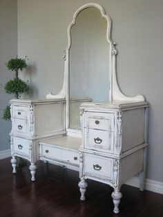 antiqued ivory finish with a glaze