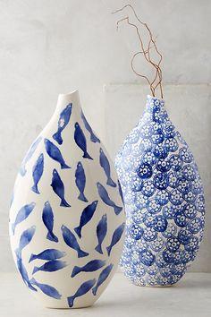 Slide View: Coral Reef Vase click the image or link for more info. Bottle Painting, Bottle Art, Bottle Crafts, Ceramic Mugs, Ceramic Pottery, Ceramic Art, Pottery Painting, Ceramic Painting, Blue Pottery