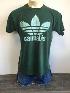 49ca5d0ac Cannabis Adidas Parody Shirt Vintage RARE Funny Joint Pot Drug Leafs  Marijuana Weed Tshirt Trefoil Reefer Large Tee by sweetVTGtshirt on Etsy