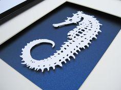Handmade Seahorse Skeleton - Paper Art