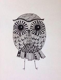 Small zentangle owl // bird // animal bohemian by SleepyEyeStudio, $7.99
