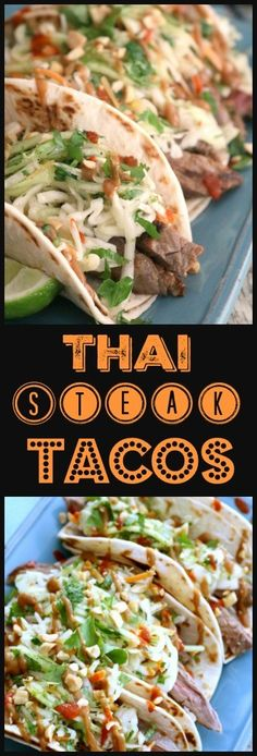 Get ready to fire up the grill for these tasty Thai Steak Tacos piled high with a tangy coleslaw and drizzled with spicy sriracha and peanut sauce.