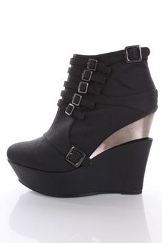 my birthday present!!!!!   Black Faux Leather Strappy Buckle Stack Wedge Booties