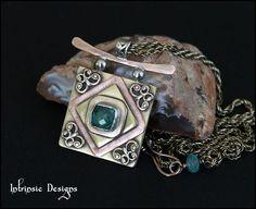 ICECUBE...Rustic Mixed Metal Pendant Necklace with by CathyHeery, $79.00
