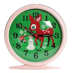 RÉVEIL horloge BAMBI faon lapin style VINTAGE en MÉTAL chambre d enfant TENDANCE