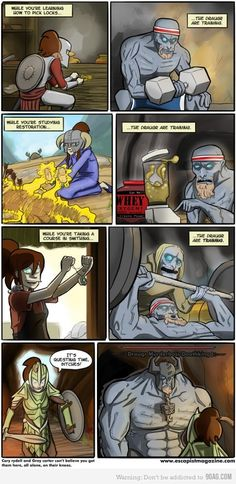 Training in skyrim. + 20 and I will upload another skyrim comic, - 20 and I shall forever hold my piece. The Elder Scrolls, Elder Scrolls Skyrim, Video Game Logic, Video Games Funny, Funny Games, Skyrim Comic, Skyrim Funny, Skyrim Mage, Gaming Memes