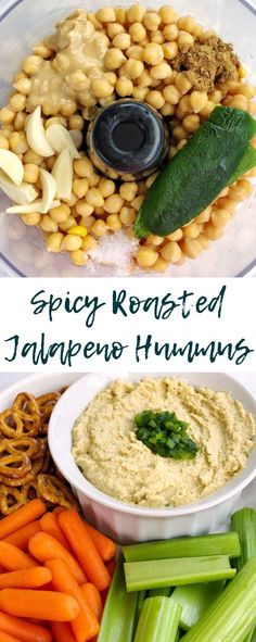 Spicy Roasted Jalapeño Hummus is simple and savory! This creamy dip comes together with garbanzo beans roasted jalapeños aquafaba garlic tahini olive oil lemon juice cumin and salt Jalapeno Hummus, Roasted Jalapeno, Jalapeno Recipes, Recipes With Jalapenos, Potato Recipes, Bacon Recipes, Burger Recipes, Clean Eating Snacks, Healthy Snacks