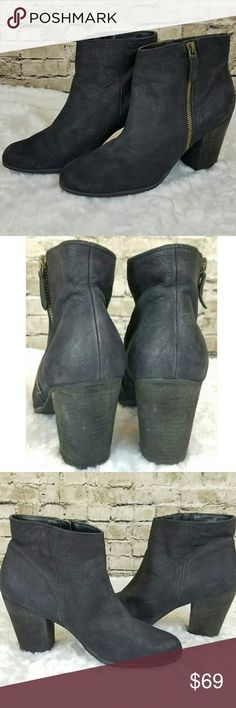 """BP Trolley Booties in Black Leather In excellent used condition! Worn twice!! No defects or damage, hardly any wear on sole  Size Info -Runs small; order 1/2 size up. -Size 10, should fit 9.5 or even 9 I only have the one pair, but listing in sizes 9-10 for coverage  Details & Care -A short side zipper accentuates the abbreviated style of a go-anywhere ankle bootie. -3"""" heel  -4"""" boot shaft. -Leather upper/polyurethane lining/rubber sole. -By BP.; imported. -BP. Shoes. bp Shoes Ankle Boots…"""