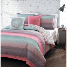 5 piece Queen Quilt Set Girls Coral Pink Teal Blue Violet Colorful Microfiber Bedding Teens Students Fusion Starburst Stripe Across Pattern #teengirlbedroomideasthemes
