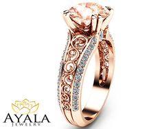 2 Carat Peach Pink Morganite Custom Ring in Rose Gold Unique Design Engagement Ring Art Deco Styled Ring from AyalaDiamonds Designer Engagement Rings, Vintage Engagement Rings, Rose Gold Morganite Ring, Gold Ring, The Bling Ring, Art Deco Ring, Piercings, Beautiful Rings, Jewelery