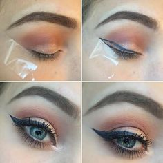 Use tape to create the perfect winged eyeliner!- Use tape to create the perfect winged eyeliner! Use tape to create the perfect winged eyeliner! Gold Eyeliner, Crayon Eyeliner, Eyeliner Tape, Perfect Winged Eyeliner, Winged Eyeliner Tutorial, Best Eyeliner, How To Apply Eyeliner, Winged Liner, Glitter Eyeshadow