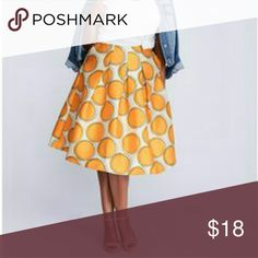 Lane Bryant Box Pleated Circle Skirt NEW Fun & flirty orange patterned skirt! 100% Polyester; rear zipup; double layered waistband for smoother slim fit Lane Bryant Skirts Circle & Skater