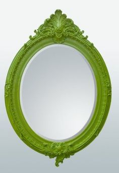 Welcoming the Antique French Style Wall Mirror - Bevelled Oval Ornate Bright Green. This shabby chic wall mirror has an ornate frame and bright green colour. French Mirror, Oval Mirror, Beveled Mirror, Ornate Mirror, Old Mirrors, Over The Door Mirror, Overmantle Mirror, French Rococo, Home
