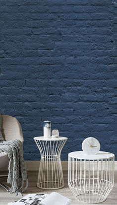 Take a twist on the ordinary brick wall with this faux wallpaper. The denim blue walls bring a contemporary feel to your home as well as bringing a sense of calm. Painted Brick Walls, Brick Accent Walls, Faux Brick Walls, Accent Walls In Living Room, Painting Brick Interior, Interior Paint, Brick Wallpaper Mural, Wall Mural, Bedroom Wallpaper