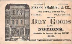 1800's Hummingbird Advertising Trade Card J Emanuel Dry Goods St Louis MO