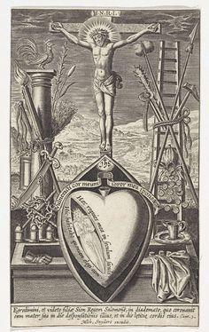 Maria, in geopend hart, bij graf van Christus, Wierix, 1610 - 1672
