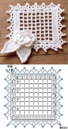Crochet Leaf Patterns, Granny Square Crochet Pattern, Crochet Squares, Crochet Diagram, Crochet Chart, Crochet Motif, Diy Crochet, Crochet Designs, Fillet Crochet