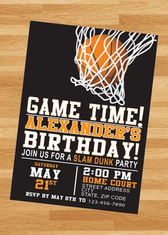 Basketball Birthday Party, PRINTED invites by 4evernalways. Explore more products on http://4evernalways.etsy.com