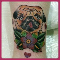 Pugs not drugs tattoo by me  #oldschooltattoo #girlytattoo #uktattoo #uktta #sheffieldtattoo #cutetattoo #customtattoo #femanintattoo #femaletattooist #traditionaltattoo #oldschooltattoo #girlytattoo  #pugtattoo #dog #dogtattoo #flower #flowertattoo #heart #tattooworkers #hearttattoo
