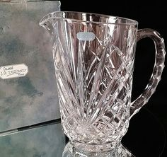 Mint In Box French Crystal Pitcher J G by OldGLoriEstateSale $40-50 etsy