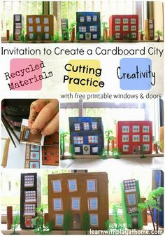Create A Box City. Cutting Practice And Creativity For Kids.