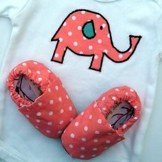 Elephant Organic Baby Clothes Onesie Baby Girl with handmade elephant applique in coral pink with matching Organic Crib Shoes 12 - 18 months @Hannah Mestel brosch (if it's a girl) ;)