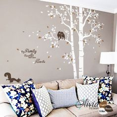 Baby nursery Large Tree vinyl wall decal Quote by theOliviaDesign