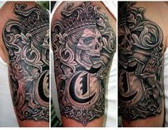 What does family crest tattoo mean? We have family crest tattoo ideas, designs, symbolism and we explain the meaning behind the tattoo. New Tattoos, Tribal Tattoos, Dragon Tattoos, Family Crest Tattoo, Half Sleeve Tattoos For Guys, Sick Tattoo, Cool Tats, Awesome Tattoos, Punisher