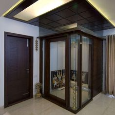 Get these beautiful pooja room design ideas for your homes. Use our pooja room design ideas to build a perfect place for praying and meditating. Green Interior Design, Contemporary Interior Design, Glass Partition Designs, Temple Room, Temple Design For Home, Mandir Design, Pooja Room Door Design, Puja Room, Small Room Design