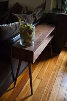 Mid Century Inspired Sofatable. Solid Wood Side Table, Plant Stand, Behind…
