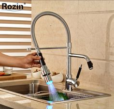 $95.22 | Buy Deck Mount LED Color Changing Kitchen Faucet with Dual Swivel Spout Single Handle Hot Cold Water Mixer Taps from Reliable kitchen faucet white suppliers on rozin Official Store