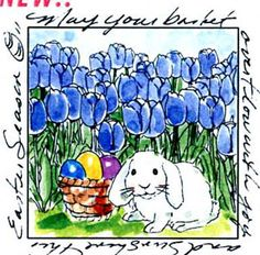 An ocean of tulips with a bunnySurrounding sentiment:May your basket overflow with joy and sunshine this Easter season.