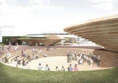 Tenri Station Plaza (Japan) by nendo/ Oki Sato Urban Design, Design Art, Site Analysis, Landscape Architecture Design, Pavilion, Facade, Dolores Park, Public, Building