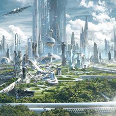 Fantasy Art Landscapes, Fantasy Landscape, Sci Fi City, Eco City, Future Buildings, Sci Fi Environment, Composition Art, Fantasy Castle, Futuristic City