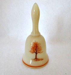 Fenton Glass Vintage Bell / Custard Glass Handpainted Autumn Tree Signed by Artist by vintagejunque on Etsy