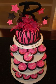 Pink Zebra Cupcake Tower
