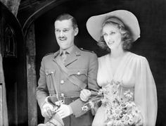 Australian actress weds actor in London - 21-June-1940. The wedding of Miss Margaret Vyner, the Australian stage and film actress, to Mr Hugh Williams, the actor, who is now in the Army, took place at St.Ethelburga's Church, Bishopgate, London. Miss Vyner has also been a mannequin. During the Royal visit to Canada she took a selection of models from the Queen's dressmaker to Canada and America.' (Photo by Planet News Archive/SSPL/Getty Images)