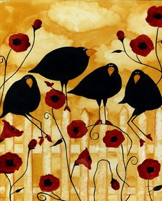 Debi Hubbs Crow Blackbirds Birds Floral Poppies Garden PR55